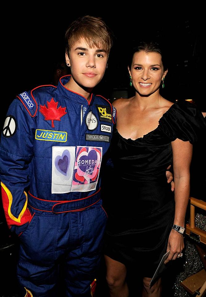 """Was Justin Bieber trying to pass himself off as a race car driver in order to win Danica Patrick's heart? Nah, it was just part of his ESPYs wardrobe. The Biebs and Danica presented the award for Best Team together at the sports-themed awards show in Los Angeles Wednesday night. Kevin Mazur/<a href=""""http://www.wireimage.com"""" target=""""new"""">WireImage.com</a> - July 13, 2011"""
