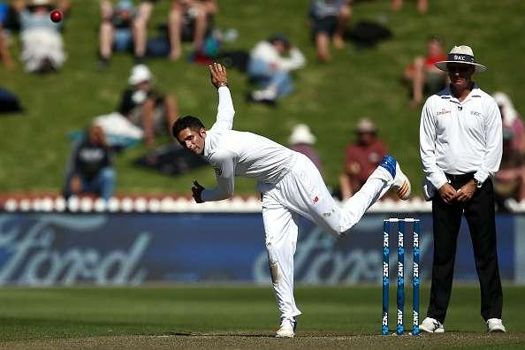 WELLINGTON, NEW ZEALAND - MARCH 16: Keshav Maharaj of South Africa bowls during day one of the Test match between New Zealand and South Africa at Basin Reserve on March 16, 2017 in Wellington, New Zealand. (Photo by Hagen Hopkins/Getty Images)