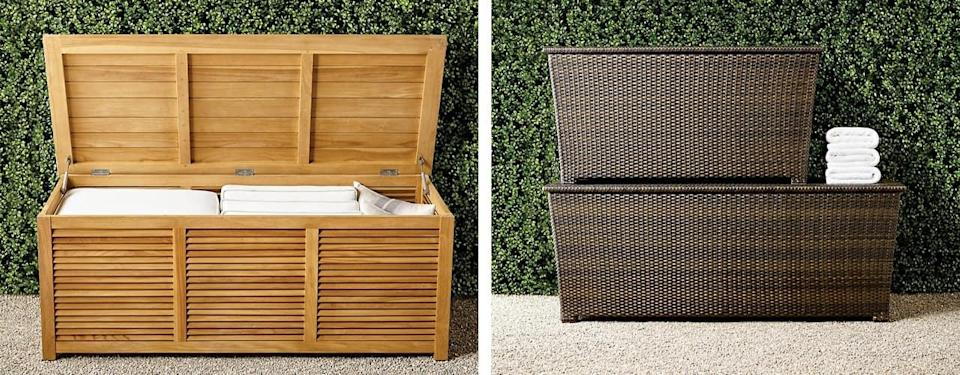 Teak and Tapered Wicker Storage Chests