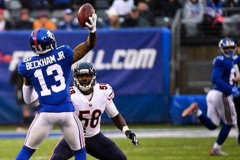 <span>Odell Beckham Jr. throws a touchdown pass to Russell Shepard in the Giants' overtime win over the Bears</span> <span>Credit: Robert Deutsch/USA TODAY </span>