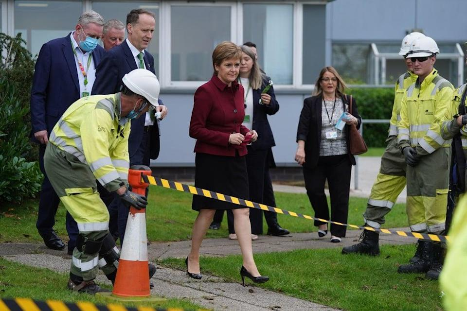Nicola Sturgeon launched the Green Jobs Workforce Academy during her visit to the Scottish Power training centre in Cumbernauld (Andrew Milligan/PA) (PA Wire)