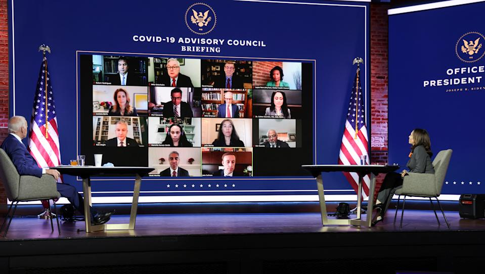 U.S. President-elect Joe Biden and Vice President-elect Kamala Harris hold a virtual meeting with members of their COVID-19 advisory board in Wilmington, Delaware, on Monday. (Jonathan Ernst/Reuters)