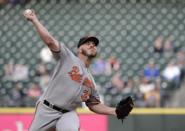 Baltimore Orioles starting pitcher Dylan Bundy throws to a Seattle Mariners batter during the first inning of a baseball game Thursday, June 20, 2019, in Seattle. (AP Photo/Ted S. Warren)