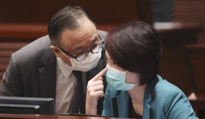 Lawmakers Martin Liao and Starry Lee at the Legislative Council on Wednesday. Photo: K. Y. Cheng