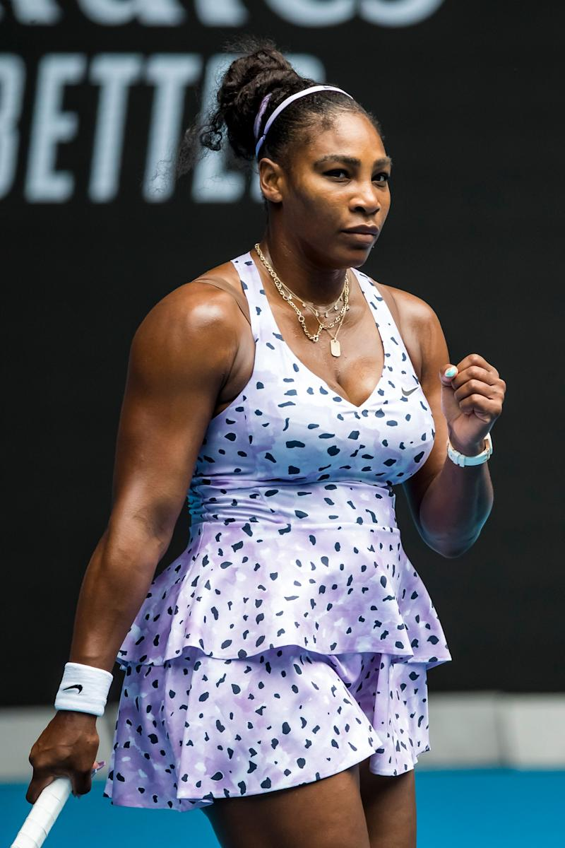 Serena Williams of the United States of America celebrates after winning a game during the first round of the 2020 Australian Open on January 20 2020, at Melbourne Park in Melbourne, Australia. (Photo: Icon Sportswire via Getty Images)