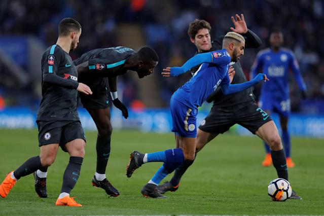 Soccer Football - FA Cup Quarter Final - Leicester City vs Chelsea - King Power Stadium, Leicester, Britain - March 18, 2018 Leicester City's Riyad Mahrez is challenged by Chelsea's Marcos Alonso, Antonio Rudiger and Eden Hazard Action Images via Reuters/Andrew Couldridge
