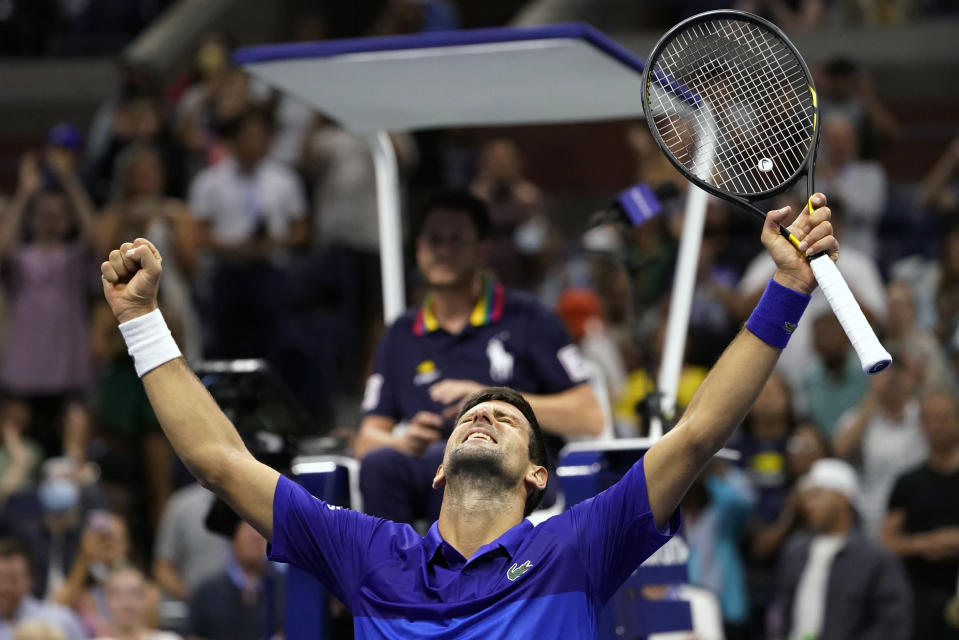 Novak Djokovic, of Serbia, reacts after beating Jenson Brooksby, of the United States, during the fourth round of the U.S. Open tennis championships, Monday, Sept. 6, 2021, in New York. (AP Photo/John Minchillo)