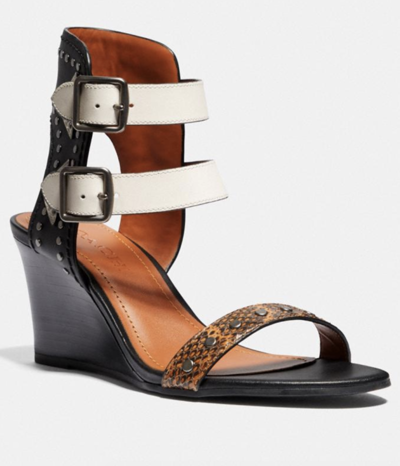 Coach Odessa Wedge With Snakeskin Detail