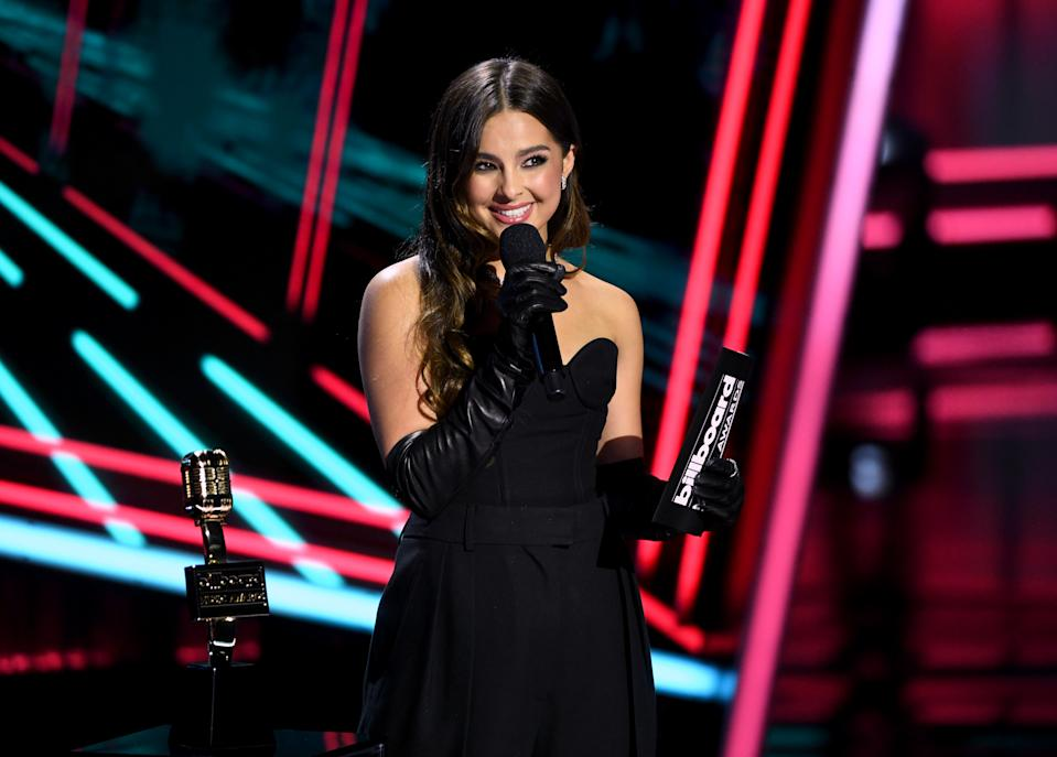 HOLLYWOOD, CALIFORNIA - OCTOBER 14: In this image released on October 14, Addison Rae speaks onstage at the 2020 Billboard Music Awards, broadcast on October 14, 2020 at the Dolby Theatre in Los Angeles, CA.  (Photo by Kevin Winter/Getty Images)