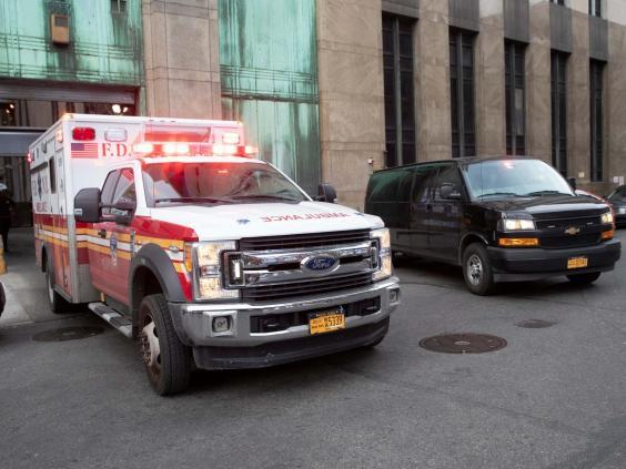 An ambulance carrying Harvey Weinstein is escorted from a courthouse in Manhattan, New York (AP/Mary Altaffer)