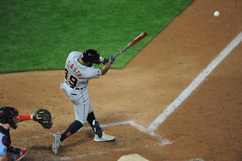 Detroit Tigers shortstop Willi Castro (49) hits a double during the ninth inning against the Minnesota Twins on Sept. 24, 2020, at Target Field.