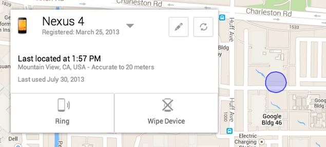 Google Android Device Manager wants to find your lost phone