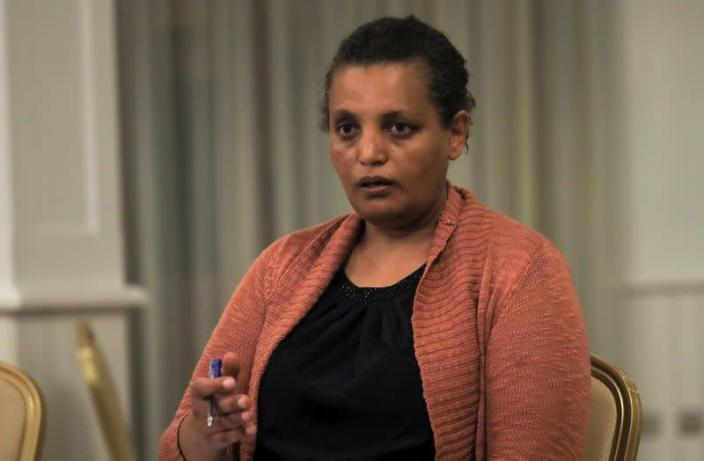 National Electoral Board of Ethiopia Chairperson, Birtukan Mideksa addresses a news conference, in Addis Ababa