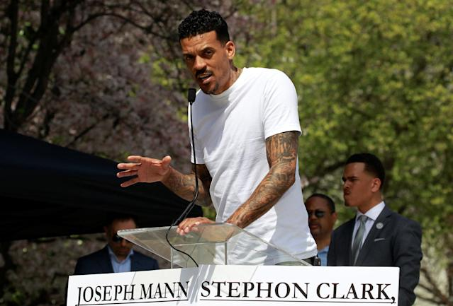 Matt Barnes, former player with the Sacramento Kings NBA team, speaks at a rally to protest the police shooting of Stephon Clark, in Sacramento, California, U.S., March 31, 2018. REUTERS/Bob Strong