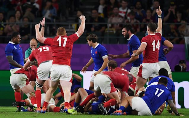 Ross Moriarty's last-gasp try gave Wale a one-point victory over France in the quarter-finals - AFP