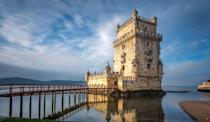 """<p>This four-story structure, built in the early 16th century, practically sits in the Tagus River in Europe, giving a new meaning to the term """"houseboat.""""</p>"""
