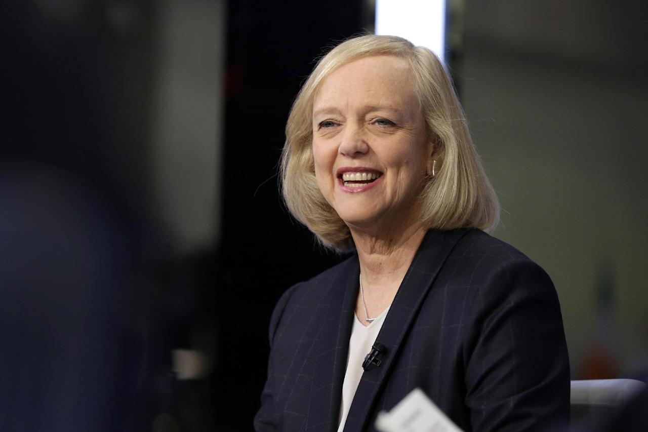 "FILE - In this Nov. 2, 2015 file photo, Hewlett Packard Enterprise President and CEO Meg Whitman is interviewed on the floor of the New York Stock Exchange. Top Republican donor and fundraiser Whitman is endorsing Democrat Hillary Clinton for president, saying she cannot support a candidate who has ""exploited anger, grievance, xenophobia and racial division."" The Hewlett-Packard executive says in a statement Tuesday night, Aug. 2, 2016, that Republican nominee Donald Trump's ""demagoguery has undermined the fabric of our national character."" (AP Photo/Richard Drew, File)"