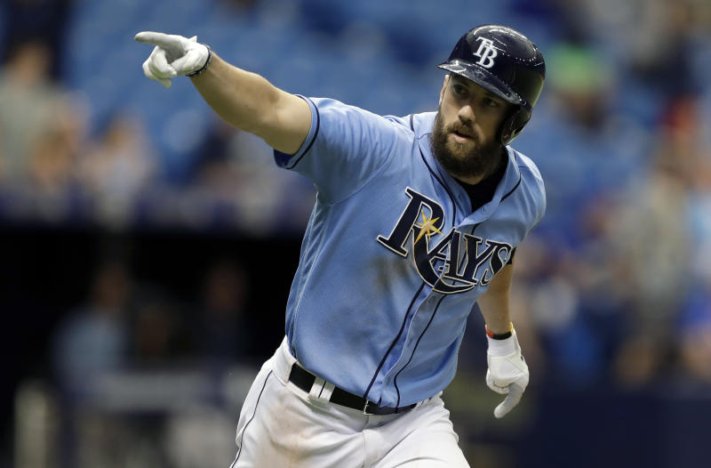 FILE - In this Sunday, Aug. 6, 2017 file photo, Tampa Bay Rays' Steven Souza Jr. celebrates after his walk off home run off Milwaukee Brewers relief pitcher Jacob Barnes during the ninth inning of an interleague baseball game in St. Petersburg, Fla. The Arizona Diamondbacks have sent infielder Brandon Drury to the New York Yankees and received outfielder Steven Souza Jr. from the Tampa Bay Rays in a three-team trade that includes five players, Tuesday, Feb. 20, 2018. (AP Photo/Chris O'Meara, File)