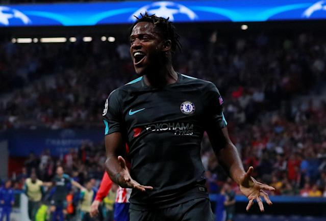 Soccer Football – Champions League – Atletico Madrid vs Chelsea – Wanda Metropolitano, Madrid, Spain – September 27, 2017 Chelsea's Michy Batshuayi celebrates scoring their second goal Action Images via Reuters/Jason Cairnduff