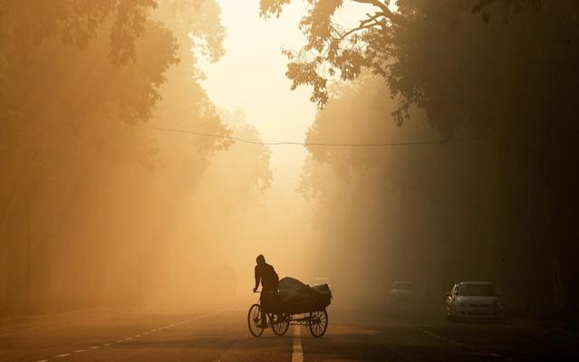 A man rides a rickshaw on a smoggy morning in New Delhi - REUTERS