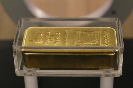Gold prices edged lower while the dollar also slipped