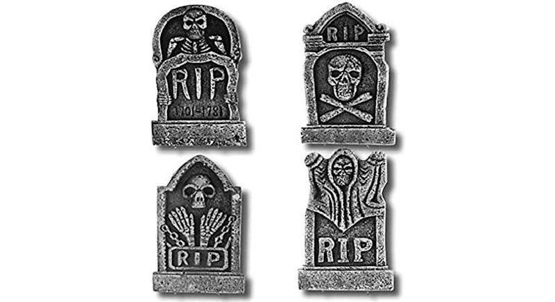 "Prextex Pack of 4 Halloween Décor 17"" RIP Graveyard Lightweight Foam Tombstone"