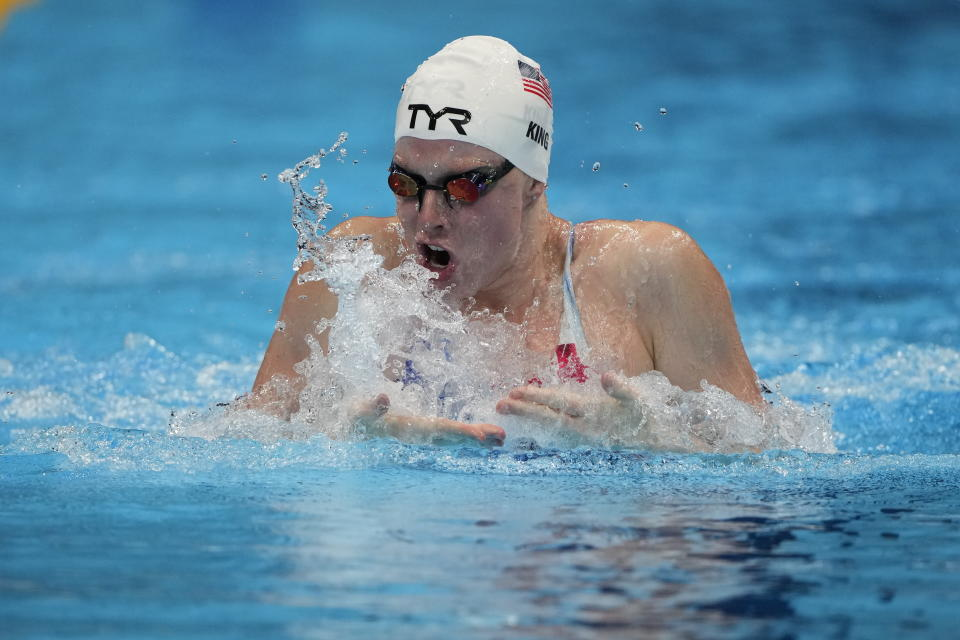 Lilly King, of United States, swims in a women's 4x100-meter medley relay heat at the 2020 Summer Olympics, Friday, July 30, 2021, in Tokyo, Japan. (AP Photo/Jae C. Hong)