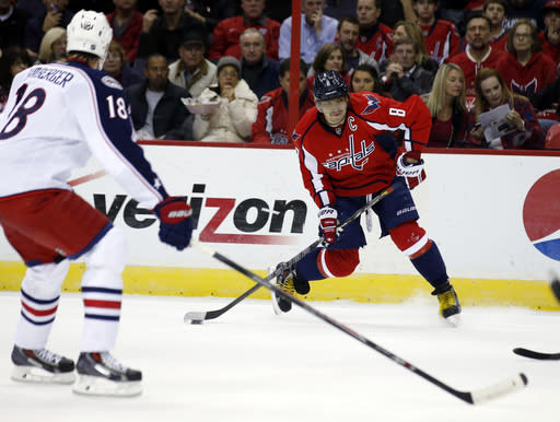 Ovechkin socres in OT, Caps top Blue Jackets 4-3