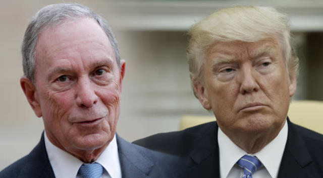 Former New York City Mayor Michael Bloomberg and President Trump. (Photo-illustration: Yahoo News; photos: Christophe Ena/AP, Evan Vucci/AP)