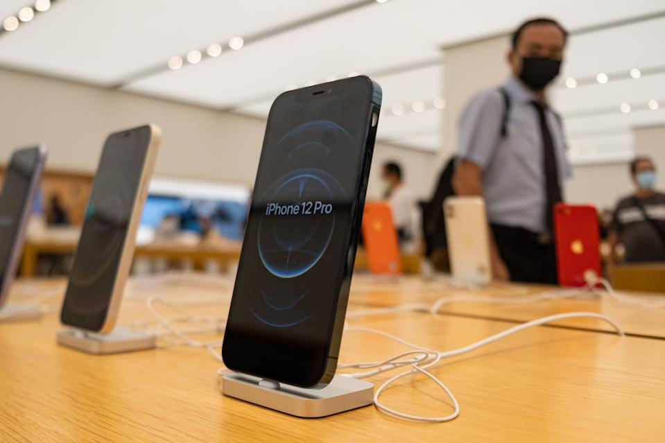 TAIPEI, TAIWAN - 2020/10/26: Apple iPhone 12 Pro seen on display at an Apple store in Taipei. (Photo by Walid Berrazeg/SOPA Images/LightRocket via Getty Images)