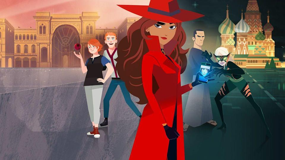 "<p>In this series, Carmen Sandiego is a master thief who uses her skills for good (while still imparting a lot of information about geography and history). Adults will recognize the voices of Gina Rodriguez from <em><a href=""https://www.netflix.com/watch/80060553"" rel=""nofollow noopener"" target=""_blank"" data-ylk=""slk:Jane the Virgin"" class=""link rapid-noclick-resp"">Jane the Virgin</a></em> and Finn Wolfhard from <em><a href=""https://www.netflix.com/watch/80077368"" rel=""nofollow noopener"" target=""_blank"" data-ylk=""slk:Stranger Things"" class=""link rapid-noclick-resp"">Stranger Things</a></em>. If the kids enjoy it, there's an <em>interactive</em> special: <em><a href=""https://www.netflix.com/watch/80994695"" rel=""nofollow noopener"" target=""_blank"" data-ylk=""slk:Carmen Sandiego: To Steal or Not to Steal"" class=""link rapid-noclick-resp"">Carmen Sandiego: To Steal or Not to Steal</a></em>, that launched on March 10.</p><p><a class=""link rapid-noclick-resp"" href=""https://www.netflix.com/title/80167821"" rel=""nofollow noopener"" target=""_blank"" data-ylk=""slk:WATCH NOW"">WATCH NOW</a></p><p><strong>RELATED: </strong><a href=""https://www.goodhousekeeping.com/life/entertainment/news/a43769/carmen-sandiego-netflix/"" rel=""nofollow noopener"" target=""_blank"" data-ylk=""slk:Netflix Is Bringing Back &quot;Carmen Sandiego&quot;"" class=""link rapid-noclick-resp"">Netflix Is Bringing Back ""Carmen Sandiego""</a></p>"