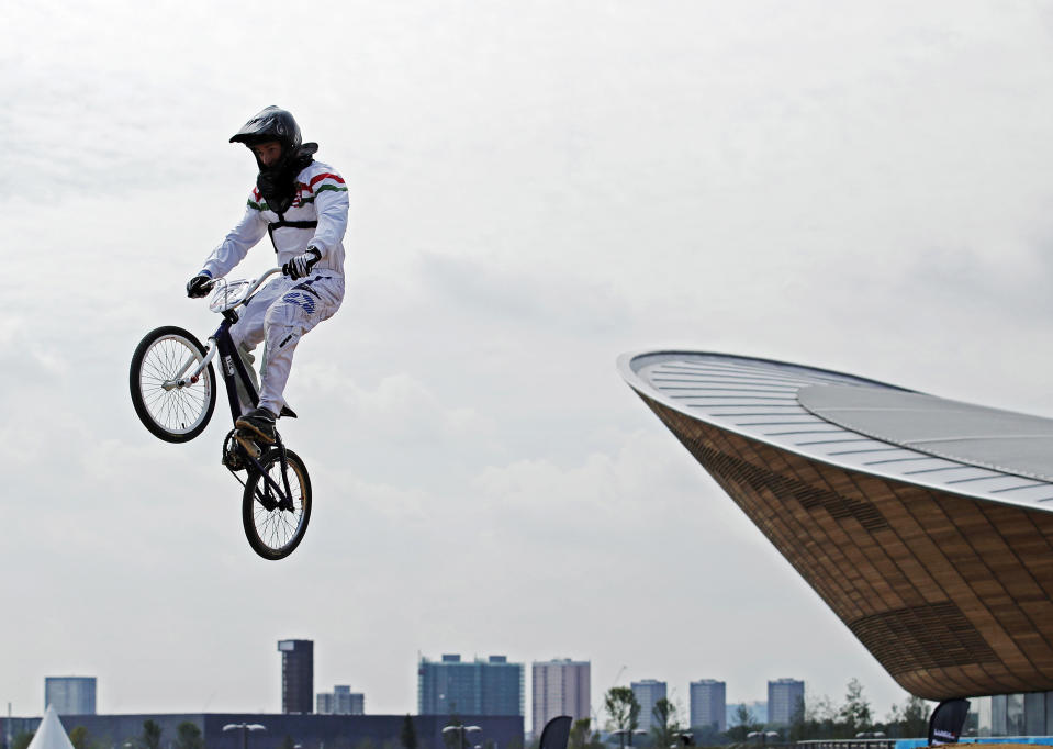 Hungary's Patrik Szoboszlai jumps during a practice session for the UCI BMX Supercross World Cup 2011 series at the VeloPark within the new London 2012 Olympic Park at Stratford in London August 19, 2011. REUTERS/Luke MacGregor
