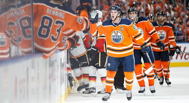 Edmonton Oilers star Connor McDavid put on a show on opening night in the NHL. (Getty)