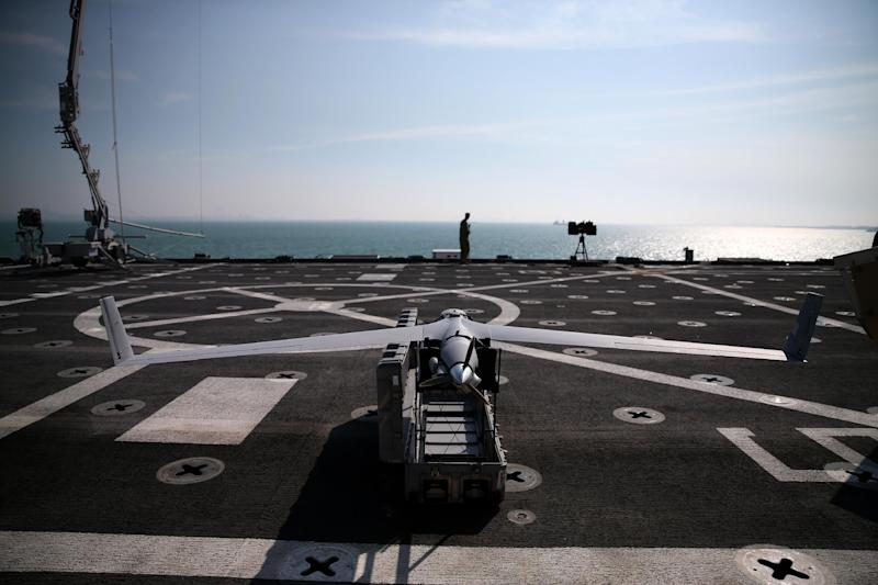 Scan Eagle drone sits on the deck of the USS Ponce, on December 6, 2013 in Manama, Bahrain (AFP Photo/Mark Wilson)