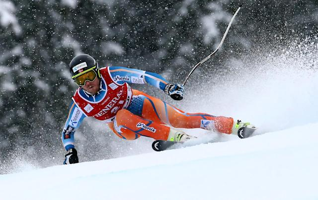 Norway's Kjetil Jansrud speeds down the slope during an alpine ski, men's World Cup super-g, in Kviitfjell, Norway, Sunday, March 2, 2014. (AP Photo/Alessandro Trovati)