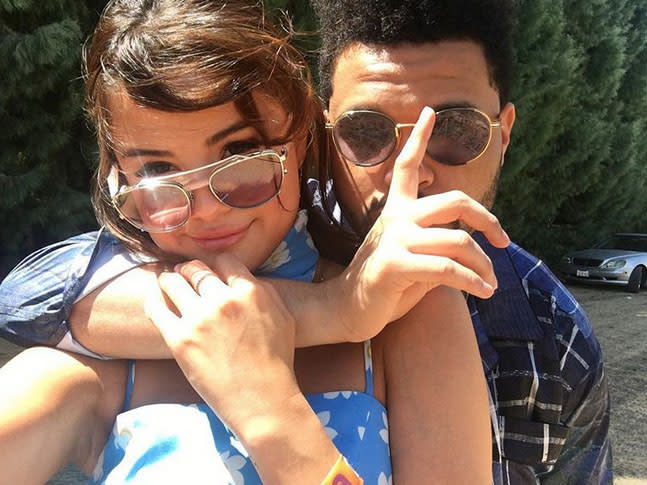 "<p>One week after <a rel=""nofollow"" href=""https://www.yahoo.com/celebrity/selena-gomez-makes-romance-weeknd-102300123.html"">becoming Instagram official</a> on his account, Selena and the Weeknd kept things rolling on social media. The superstars attended Coachella, where the ""Can't Feel My Face"" singer was a surprise performer, and they turned the party weekend into a romantic getaway. Selena introduced her 125 million Instagram followers to her boyfriend with this adorable shot. (Photo: Selena Gomez via Instagram) </p>"