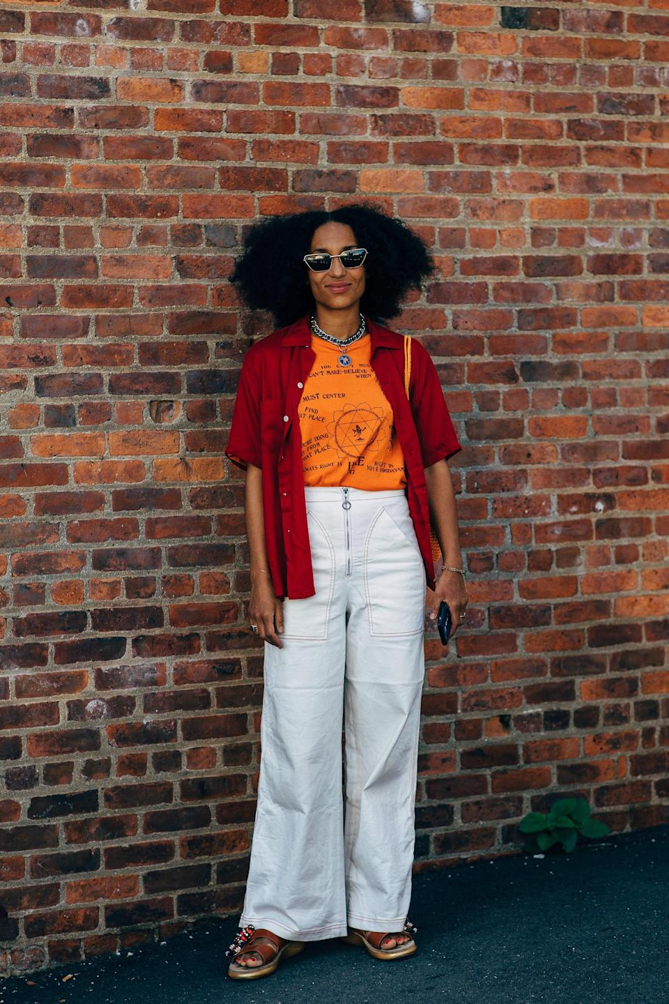 <p>Flared pants, light layers, and platform sandals are simple to execute and exude a slightly '70s vibe. </p>