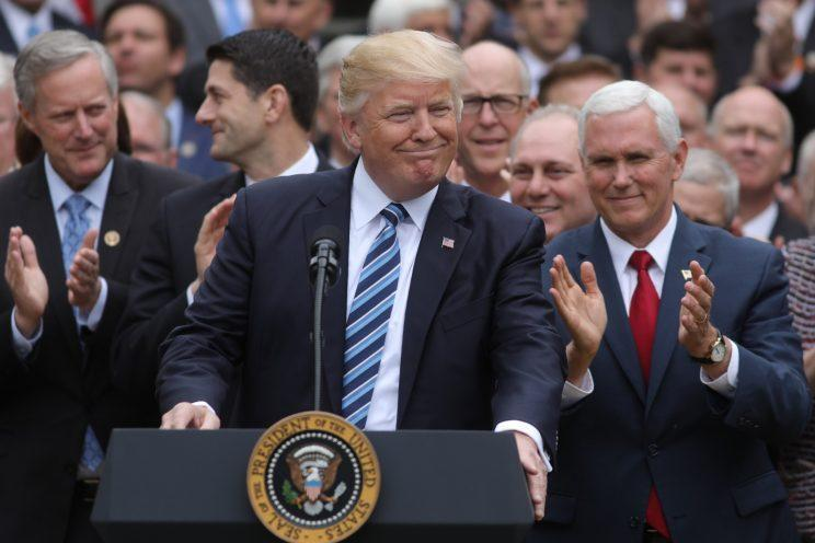 President Trump on May 4, 2017, the day the House passed its health care reform bill. (Photo: Carlos Barria/Reuters)