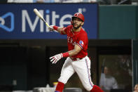 Texas Rangers' Anderson Tejeda watches a foul ball during the third inning of the team's baseball game against the Baltimore Orioles in Arlington, Texas, Friday, April 16, 2021. Tejeda struck out on the at-bat. (AP Photo/Roger Steinman)