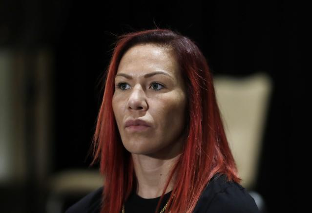 Brazilian-American mixed martial arts superstar Cris Cyborg is seen during a news conference. (AP)