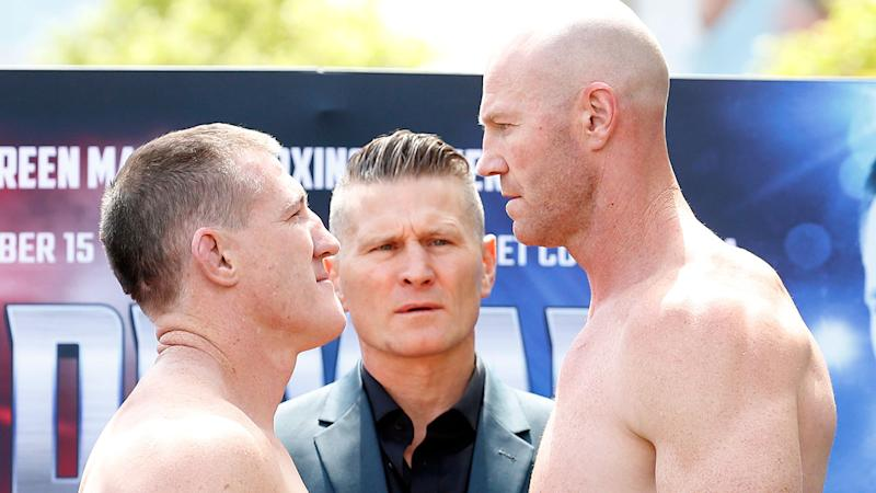 Barry Hall (R) goes into the fight against Paul Gallen with a distinct height and reach advantage.