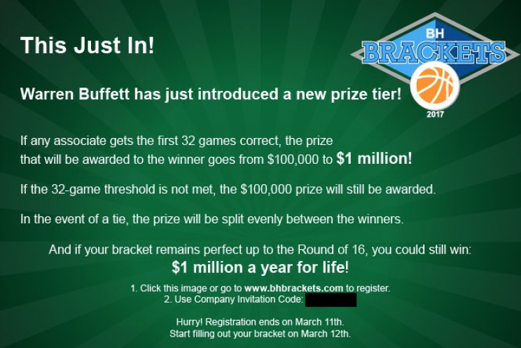 Graphic sent to Berkshire Hathaway employees for March Madness contest