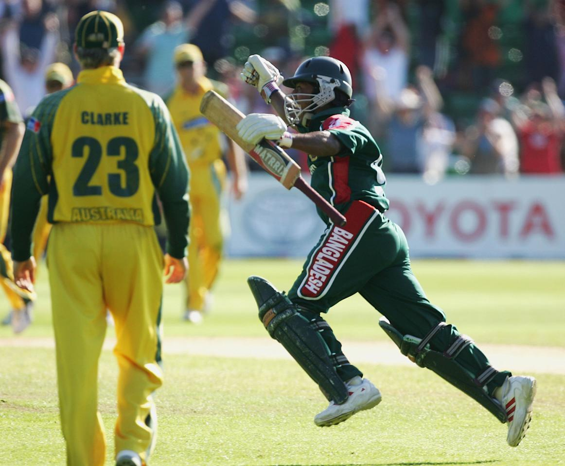 Aftab Ahmeb Chowdhury of Bangladesh celebrates the winning run during the NatWest Series One Day International between Australia and Bangladesh played at Sophia Gardens on June 18, 2005 in Cardiff, United Kingdom  (Photo by Hamish Blair/Getty Images)
