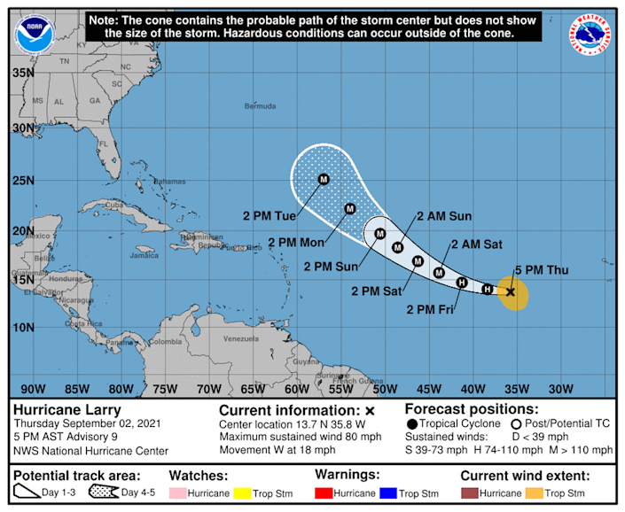 Hurricane Larry, after undergoing an eyewall replacement, is expected to continue to strengthen into a Category 4 storm by Sunday.