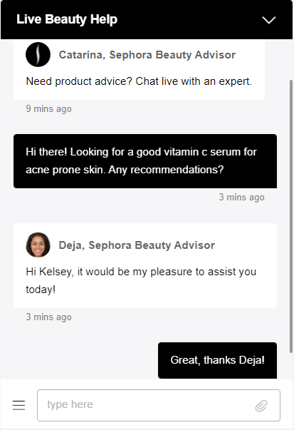 Customers can ask personalized questions to beauty advisers on Sephora's live chat feature