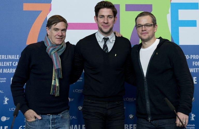 """From L: US director Gus van Sant, US actor John Krasinski, and US actor Matt Damon pose after addressing a press conference for the film """"Promised Land"""", competing in the 63rd Berlinale Film Festival, in Berlin February 8, 2013. The movie, which Damon said cost less than $18 million to make, has only drawn about $7.6 million at the US box office since its late December release"""