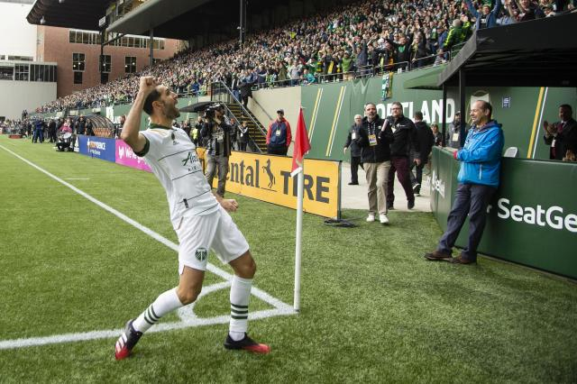 "Diego Valeri celebrates after scoring the only goal in the <a class=""link rapid-noclick-resp"" href=""/soccer/teams/portland-timbers/"" data-ylk=""slk:Timbers"">Timbers</a>' 1-0 victory over Nashville SC at Providence Park. (Troy Wayrynen-USA TODAY Sports)"