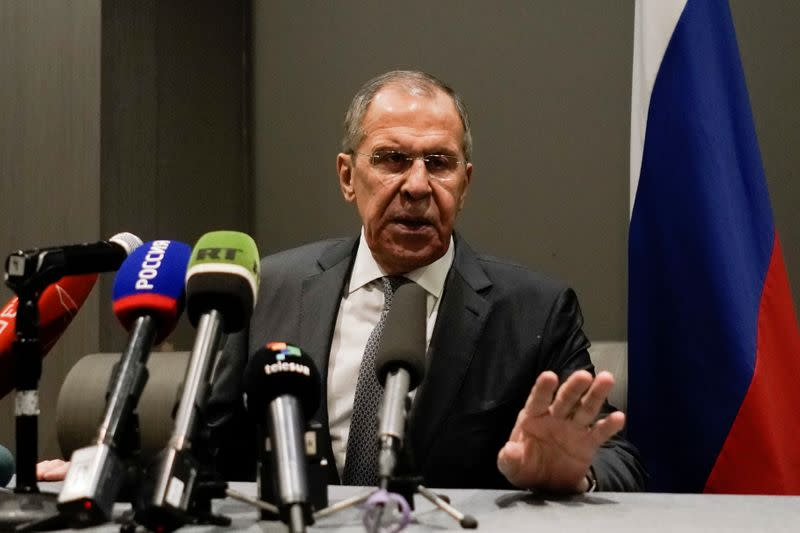 Russian Foreign Minister Sergei Lavrov attends a news conference, in Mexico City
