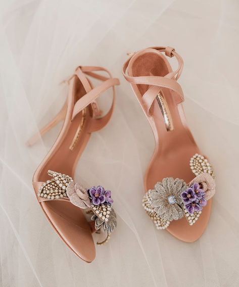 <p>Instead of wearing white heels, Anna opted for a pair of blush pink stilettos by designer Sophia Webster. The shoes had intricate detailing across the main strap, including beaded flowers. Source: Instagram/AnnaHeinrich </p>