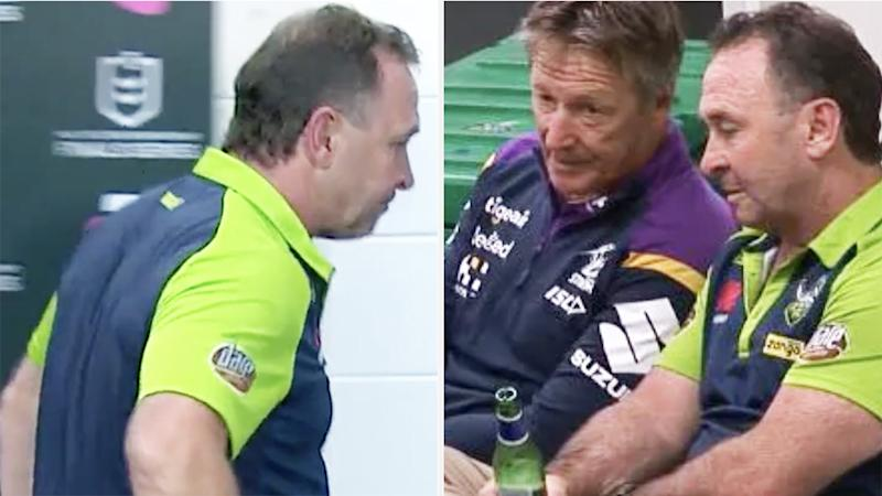 A 50-50 split image shows Ricky Stuart walking out of his post-match press conference on the left, and sharing a drink with Craig Bellamy on the right.